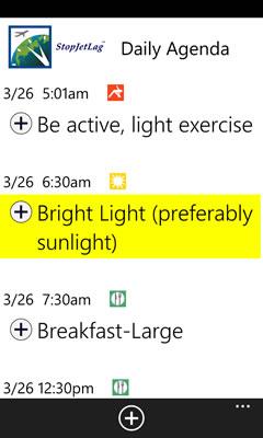 StopJetLag Agenda on Windows Phone 7
