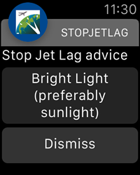 Bright Light Notification - StopJetLag for Apple Watch