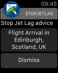Flight Arrival Notification - StopJetLag for Apple Watch