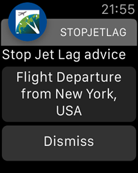 Flight Departure Notification - StopJetLag for Apple Watch