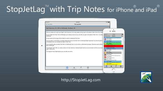 StopJetLag Trip Notes for iPhone and iPad