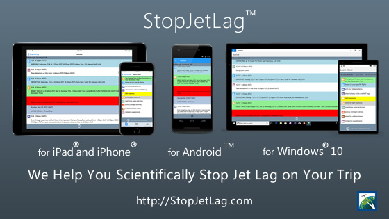 StopJetLag 2019 Mobile Devices