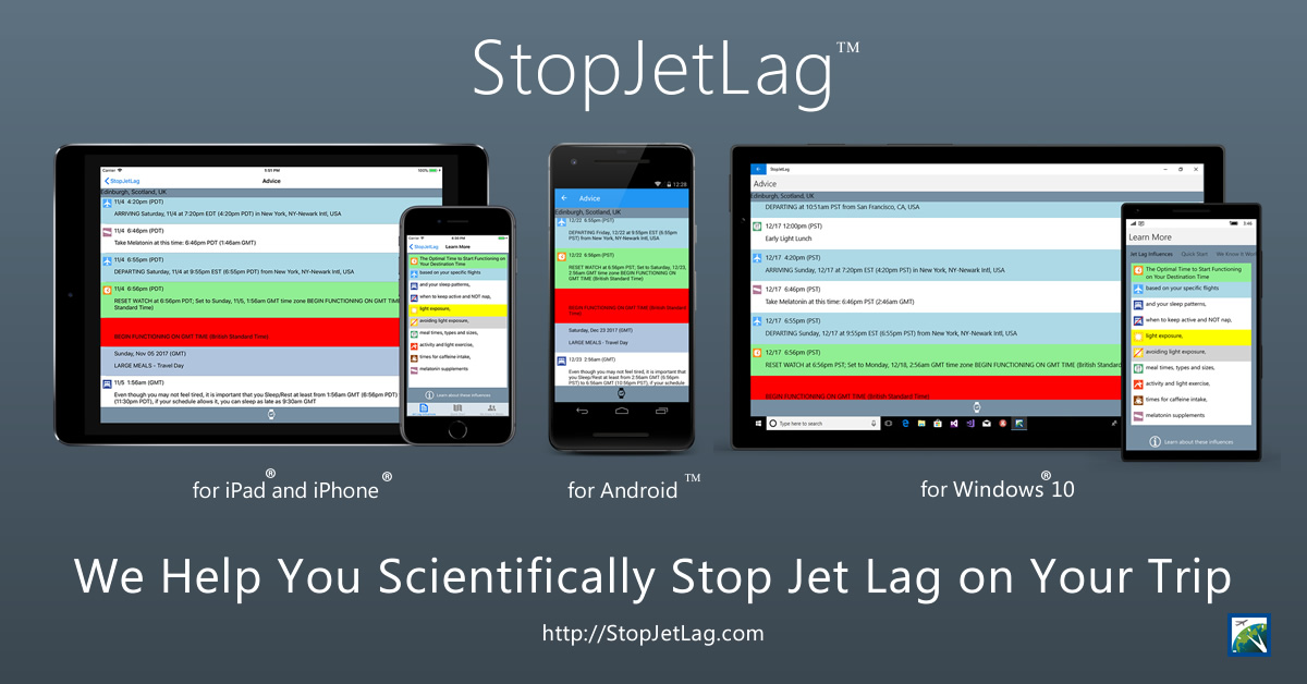 StopJetLag 2018 Mobile Devices