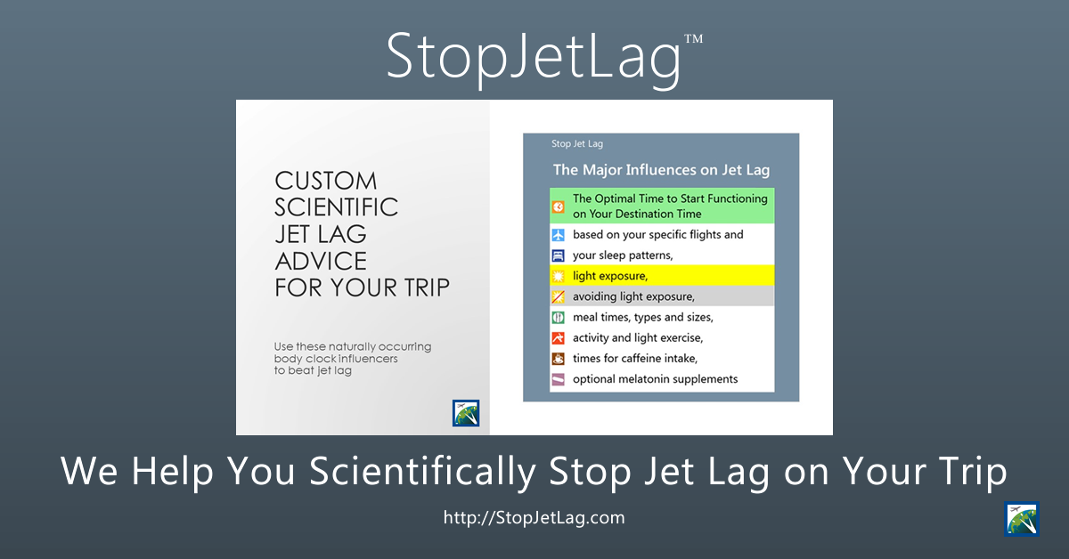 StopJetLag Custom Jet Lag Advice